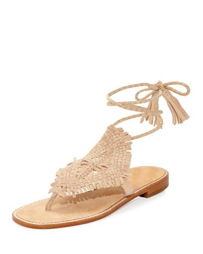 Kacia Woven Flat Ankle-Wrap Sandal, Warm Gold