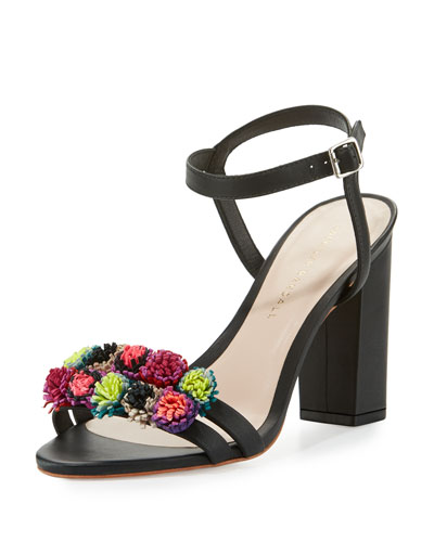 Layla Pompom City Sandal, Black