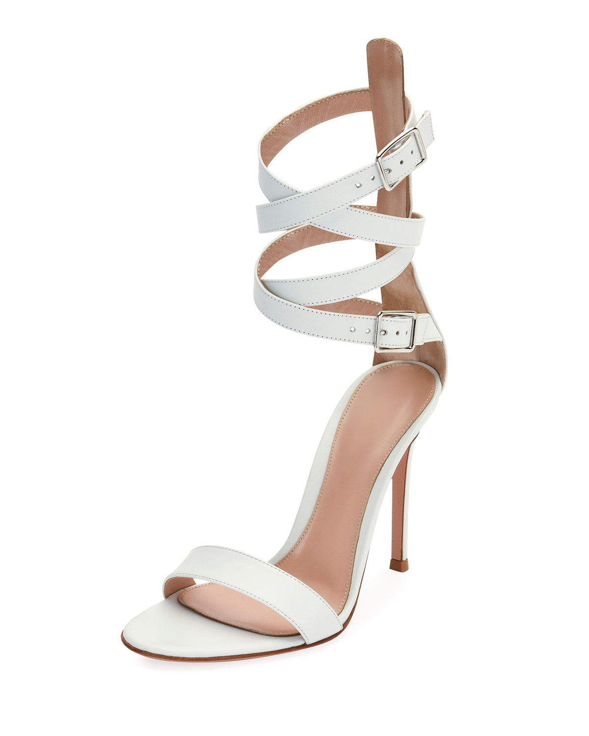 Leather Ankle-Wrap Sandal, White