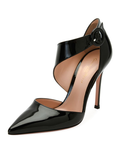 Patent Asymmetric Pointed-Toe Pump, Black