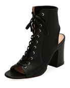 Lace-Up Stretch Napa Open-Toe Bootie, Black