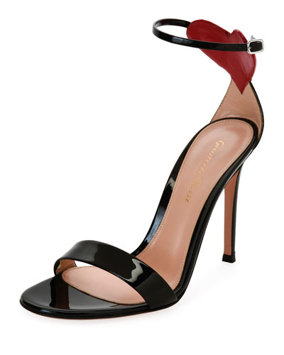 Heart Patent 105mm Sandal, Black/Red