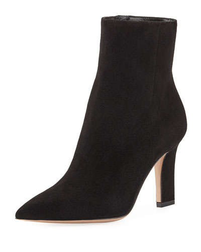 Point-Toe Suede Zip Bootie, Black