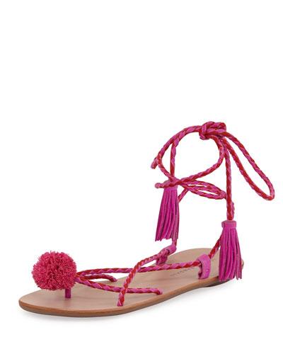 Bo Pompom Flat Lace-Up Sandal, Magenta
