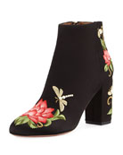 Lotus Satin Floral-Embroidered Bootie, Black