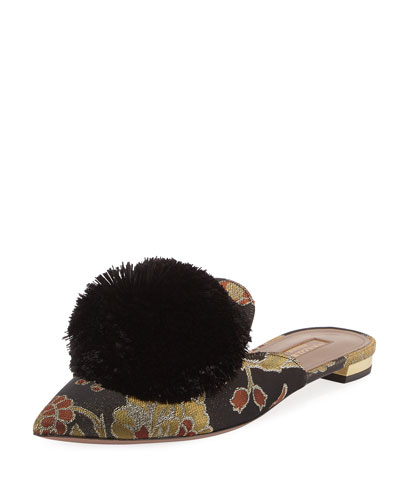 Powder Puff Floral-Print Flat Slide, Rose Jacquard