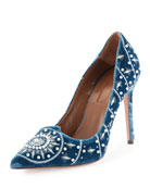 Stellar Pearly-Beaded Velvet Pump, Ocean Blue