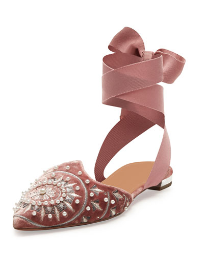 Stellar Embellished Velvet Ankle-Wrap Flat, Antique Rose