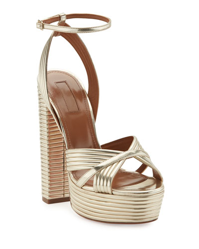 Sundance Plateau Metallic Platform Sandal, Light Gold