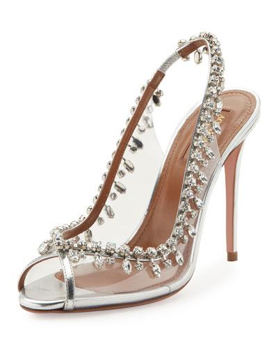Temptation Crystal Slingback Sandal, Silver