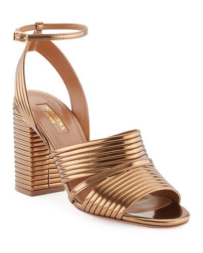 Sundance Metallic Leather Block-Heel Sandal, Antique Gold
