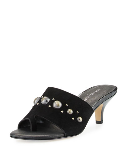 Rajaa Toe Ring Embellished Sandal, Black