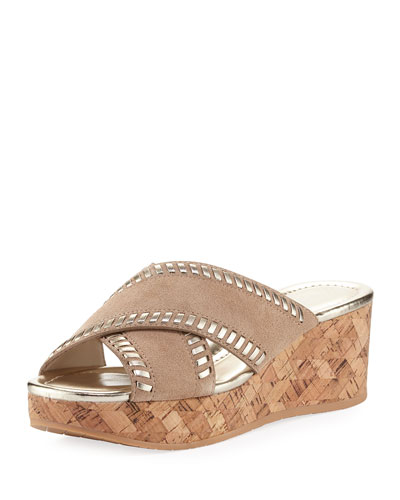 Savee Whipstitch Cork Wedge  Slide Sandal, Beige