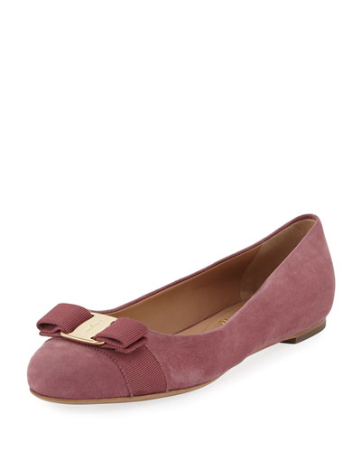 Bow Suede Ballerina Flat, Pink