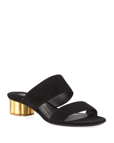 Belluno Suede Two-Band Mule Sandal, Black