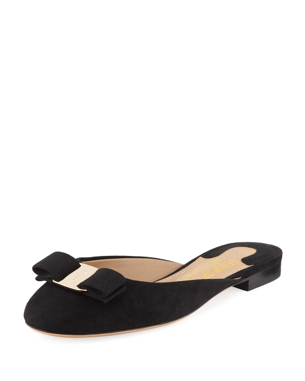 Bow Suede Flat Slide, Black