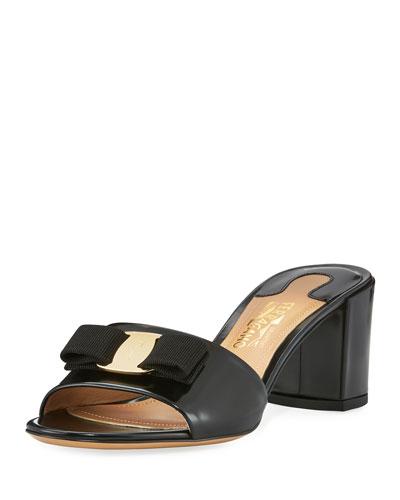 Patent Bow Mule Sandal, Black