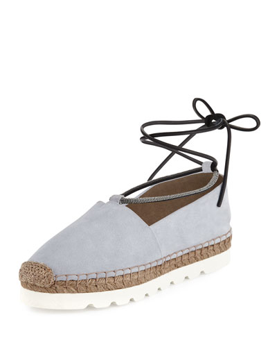 Suede Monili Ankle-Wrap Espadrille Flat, Cloud