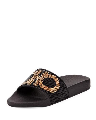 Crystal Flat Slide Sandal