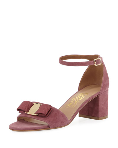 Bow Suede Sandal, Pink