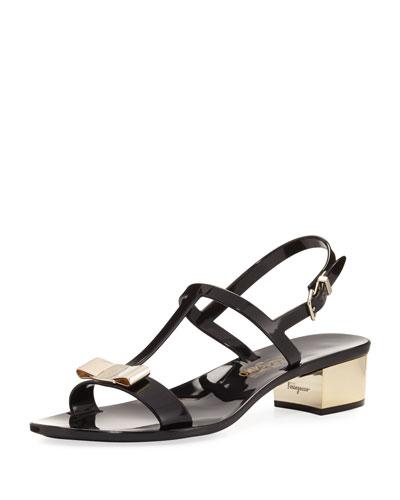 Jelly Flat Sandals, Black
