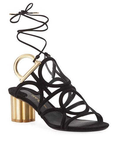 Vinvi 55 Suede Ankle-Wrap Sandal, Black