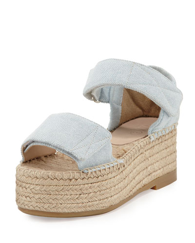 Canvas Wedge Platform Espadrille Sandal, Light Blue
