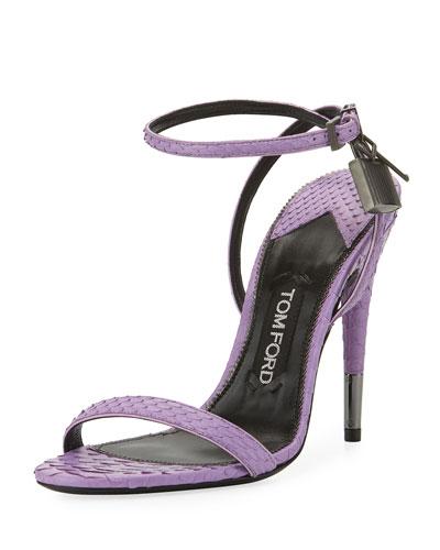 Python Padlock Ankle-Wrap 105mm Sandal, Lilac