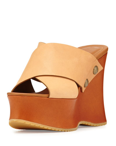 Maya Leather Platform Wedge Sandal, Beige