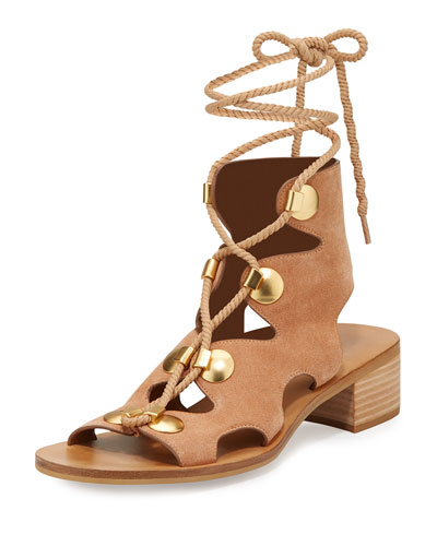 Edna Suede Lace-Up Sandal, Cipria