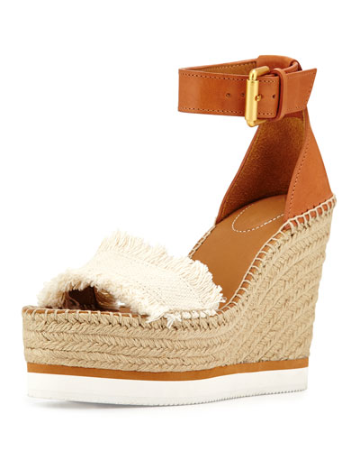 Glyn Canvas & Leather Espadrille Sandal, Cream/Tan