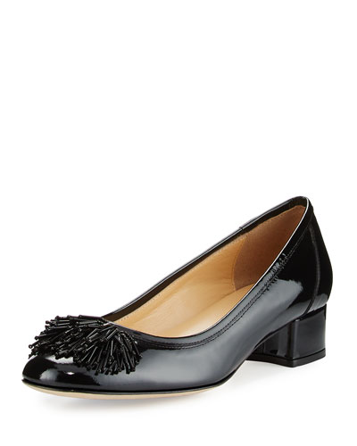 Flynn Ornament Patent Low-Heel Pump, Black