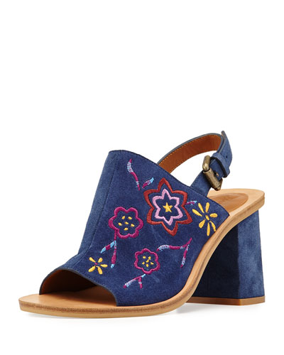 Dakota Embroidered 70mm Sandal, Blue