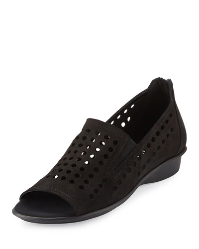 Ellen Perforated Comfort Slip-On Flat, Black