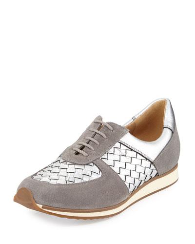 Casia Woven Leather Sneaker, Silver