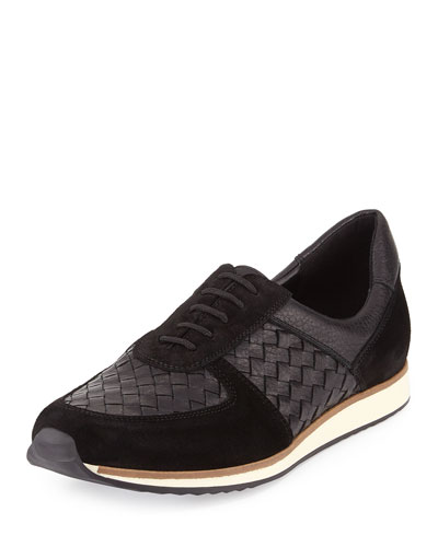 Casia Woven Leather Sneaker, Black