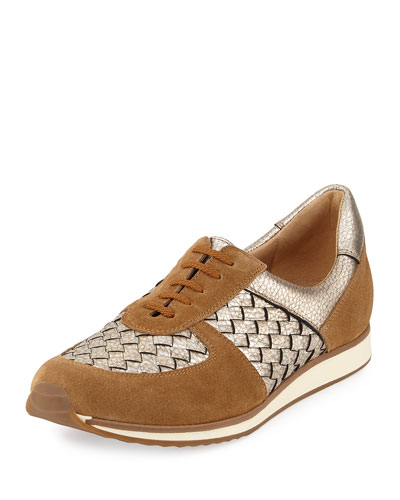 Casia Woven Leather Sneaker, Beige