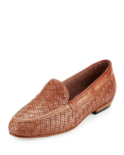 Nellie Perforated Woven Flat Loafer, Beige