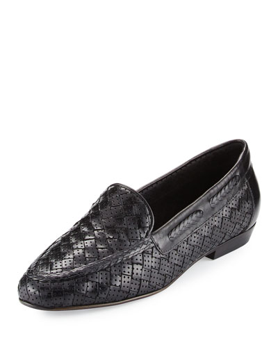 Nellie Perforated Woven Flat Loafer, Black