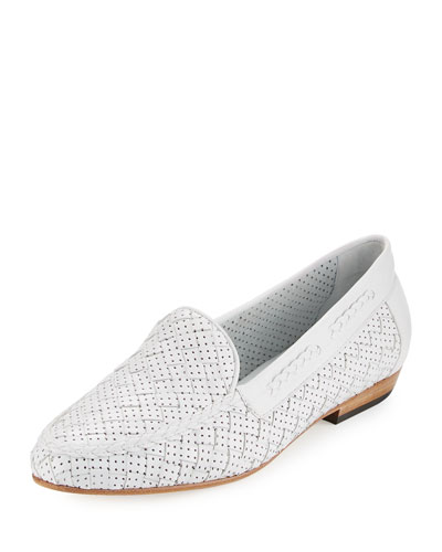 Nellie Perforated Woven Flat Loafer, White