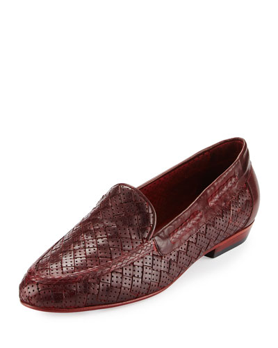 Nellie Perforated Woven Flat Loafer, Red