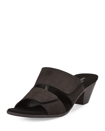 Paidyn Leather Low Slide Sandal, Black