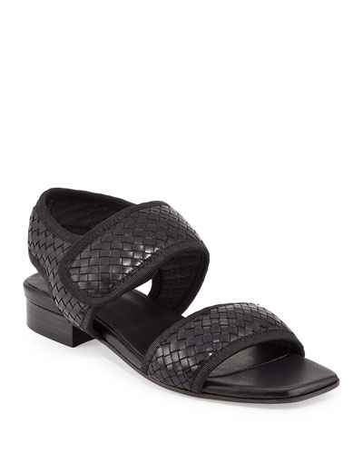 Gryta Woven Leather Flat Sandal, Black