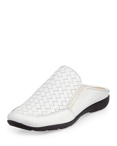 Giana Woven Leather Mule, White