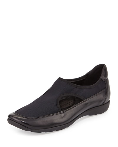 Gummy Stretch Sneaker-Style Flat, Black