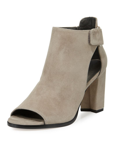 Open-Door Suede Sandal, Light Gray
