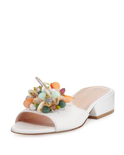 Cupcake Beaded Leather Slide Sandal, White