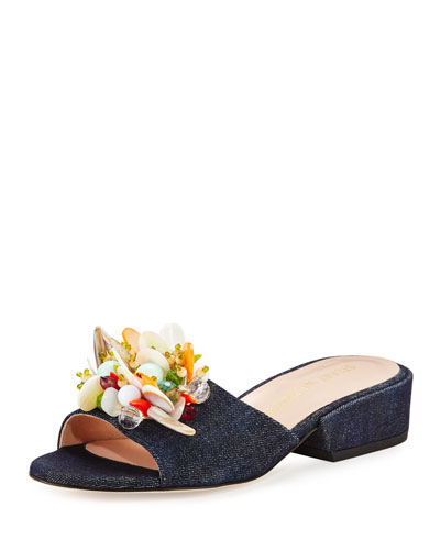 Cupcake Beaded Denim Slide Sandal, Navy