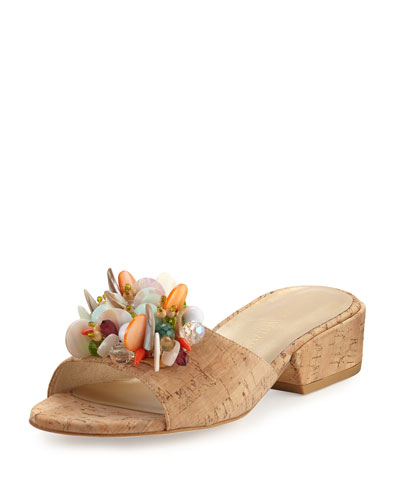 Cupcake Beaded Cork Slide Sandal, Neutral
