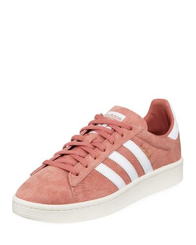 Pink & White Pigskin Nubuck Campus Sneakers, Magenta